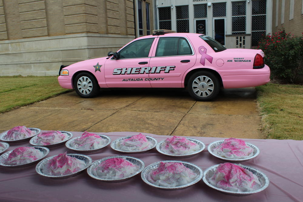 Pies awaiting to be put in Sheriff Sedinger's face