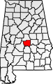 Map of Alabama with Autauga County filled in with red.