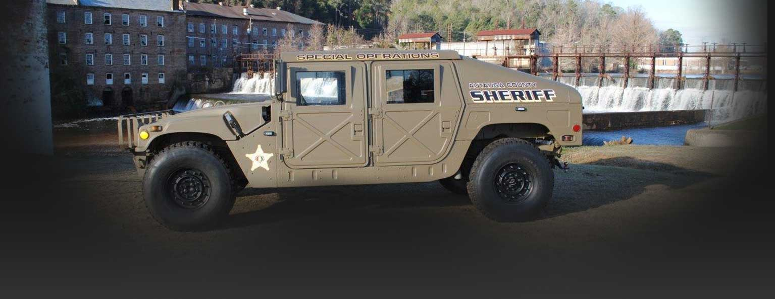 Image of an Autauga County sheriff hummer with the words 'Special Operations' written across the top of it.